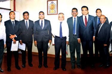 The committee members with Justice Minister Ali Sabry PC, Ministry Secretary Priyantha Mayadunne and Justice Minister's Private Secretary Attorney-at-Law Janaka Ranatunga.