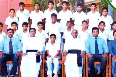 St. Sebastian's College Under Thirteen Cricket Pool with officials   Seated from L/R – Kanishka Perera (Master in Charge / Head Coach, Rev. Fr. Priyan Subashana (Prefect of Games), Ryan Dissanayake (Captain), Rev. Fr. Ranjith Andradi (Rector), Sameera Aponso (Assistant Coach), Samith Fernando (Assistant Coach)   Middle Row Standing L/R – Devshitha Muthuhara, Dinada Peiris, Malintha Silva, Sandila Ferdinando, Yasheen Fernando, Naveesha Fernando, Adesh Almeida, Akash Dissanayake, Koshendra Fernando   Third Ro