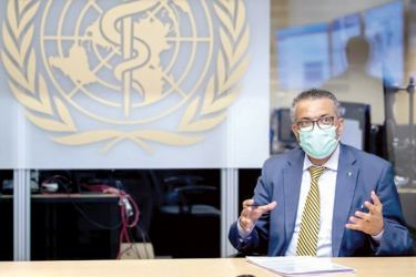 World Health Organization (WHO) Director General Tedros Adhanom Ghebreyesus speaks during a visit of the Presidents of the Swiss Federal Chambers, at the World Health Organization (WHO) headquarters in Geneva, Switzerland on Thursday.