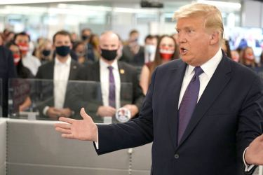 President Donald Trump travelled to the Republican Party's office in Arlington, Va., on  Tuesday and spoke to staff members, thanking them for their hard work.