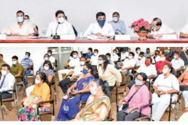 State Minister for Rural Roads and Other Infrastructure Nimal Lanza and State Minister of Rural Industrial Promotion Prasanna Ranaweera chairing the meeting held at the Wattala Divisional Secretariat.