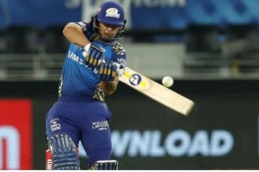 Mumbai Indians' Ishan Kishan pounces on a short ball during their IPL 2020 Qualifier 1 match in Dubai on Thursday. - AFP