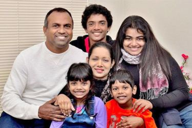 Rajitha, Florence and their children.