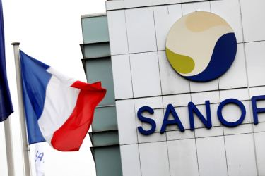 The Sanofi logo is seen at the company's research and production centre in Vitry-sur-Seine, France,