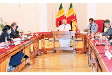 Foreign Minister Dinesh Gunawardena meeting with EU Ambassadors and the EU delegation based in Colombo at the Foreign Ministry on Wednesday.