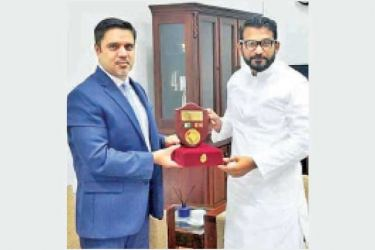 Afghanistan's Ambassador to Sri Lanka M. Ashraf Haidari paid a courtesy call call on Sri Lankan Minister of State for Regional Cooperation Tharaka Balasuriya.