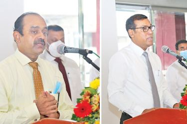 Sujeewa Rajapaksa Chairman and Ranjith Kodituwakku CEO and GM of People's Bank addressing the gathering