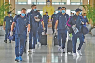 England cricket team arrived at the Rajapaksa International Airport in Mattala and will commence practices in MRICS, Hambantota prior to first Test against Sri Lanka in Galle on January 14.