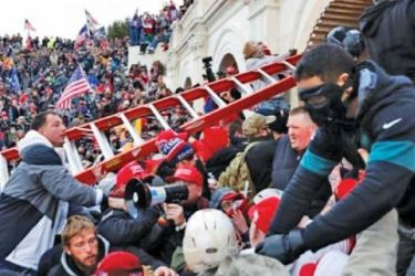 World stunned by Trump supporters storming U.S. Capitol.