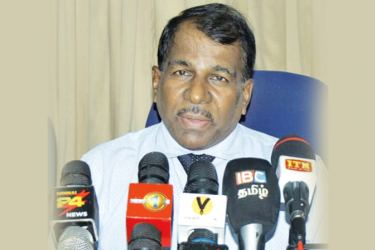 Batticaloa District Government Agent Ganavathipillai Karunakaran addressing the media briefing.