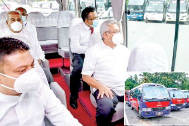 President Gotabaya Rajapaksa yesterday launched the first stage of the Park and Ride-City Bus Service at the Makumbura Multimodal Transport Centre in Kottawa. Picture shows the President on board one of the buses with Transport Minister Gamini Lokuge and State Minister of Vehicle Regulation, Bus Transport Services, Train Compartments and Motor Car Industry Dilum Amunugama. Pictures courtesy Presidential Media Division