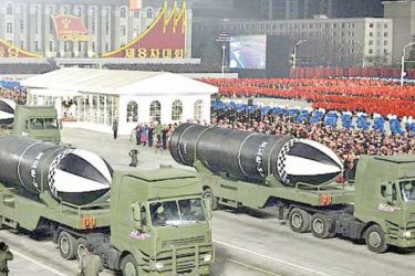 North Korea displays its missiles during a military parade marking the ruling party congress in Pyongyang on Thrsday.