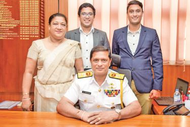 Navy Chief of Staff Rear Admiral Sumith Weerasinghe along with his family after assuming duties.