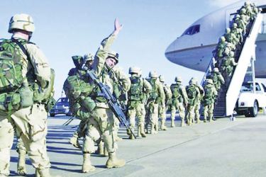 A contingment of US troops leaving Afghanistan.