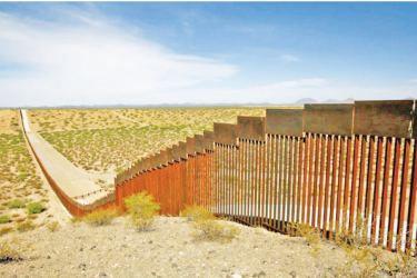A section of the wall along the US-Mexican border.