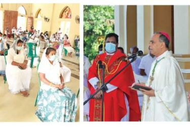 Chilaw Bishop Most Rev. Valence Mendis addressing the parishioners. Pictures by Prasad Purnamal, Puttlam District Group Corr.