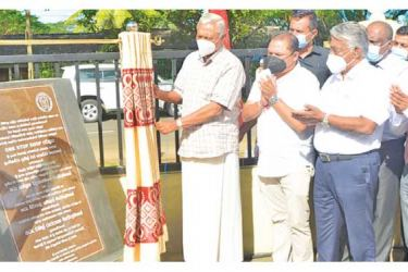 Minister Chamal Rajapaksa and State Minister Siripala Gamalath at the opening of a 'One-Stop-Shop' Mahaweli Zone Farm Production complex in Girandurukotte recently.