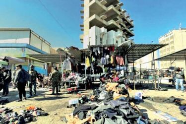 A view of the aftermath of the bombing at Thaier al-Sudani in Iraq..