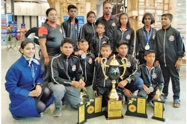 ISKU Academy Karate Contingent posed for a photograph at the airport just after their arrival in India in 2019. Miuni Dahamsa is standing third from right in the last row. (Picture by Dilwin Mendis Moratuwa Sports Special Correspondent)