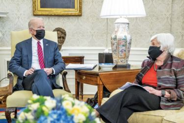 US President Joe Biden discuss the COVID-19 economic relief package for Americans with Treasury Secretary Janet Yellen in the Oval Office of the White House.