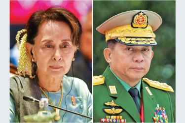 Aung San Suu Kyi (L) and General Min Aung Hlaing
