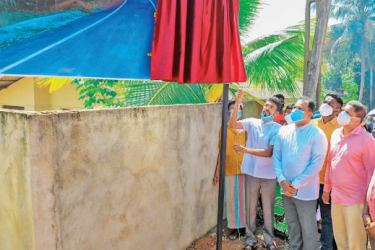 State Minister for Rural Roads and Other Infrastructure Nimal Lanza inaugurating rural road development work in the Ja-Ela electorate.