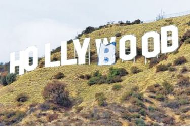 """Vandals have altered the landmark Hollywood sign to read """"Hollyboob"""" on Tuesday."""