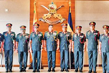 A group of Major Generals after receiving their insignias from Army Commander General Shavendra Silva.