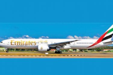 An Emirates Boeing 777-300ER aircraft at the BIA.