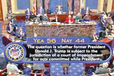 The US Senate voted 56-44 on whether it could proceed with Donald Trump's impeachment trial on Tuesday.