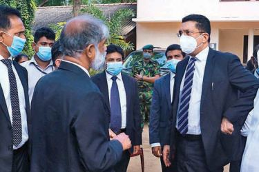 Justice Minister Ali Sabry with Irrigation, Disaster Management and Internal Security Minister Chamal  Rajapaksa  during his visit to the Hambantota courts complex.