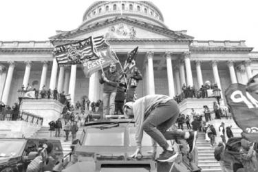Rioters outside Capitol Hill in Washington D.C. on January 6.
