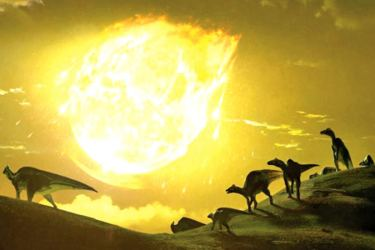 An artist's depiction of the moment the Chicxulub asteroid struck present-day Mexico 66 million years ago.