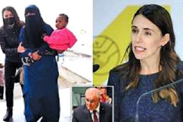 New Zealand Prime Minister Jacinda Ardern (R) 26-year-old 'ISIS bride', named locally as Suhayra Aden and Australian Prime Minister Scott Morrison (Inset).