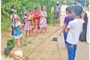 A group of children being educated about an agri-activity.