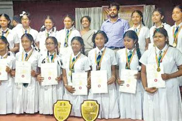 The Senior and Junior Chess teams of the Girls' High School,Kandy. ( Pictures By Upananda Jayasundera-Kandy Sports Spl.Corr