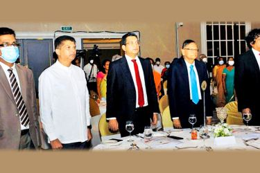 Education Minister Prof. G.L. Peiris, Justice Minister Ali Sabry, PC, State Minister Lohan Ratwatte and Attorney General Dappula de Livera at the event.