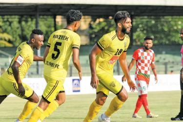 Colombo FC striker Chamod Dilshan in action after scoring two goals for his team to notch up 4-0 win over New Young SC