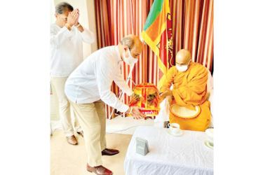 Ven. Mawarale Bhaddiya Thera was being invited by the Ambassador for the Dhamma Sermon.
