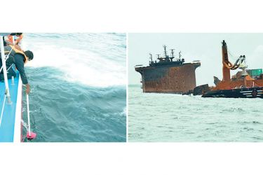 Government Analyst Department and CID officers yesterday obtained seawater samples at the site where the MV X-Press Pearl vessel caught fire off the coast of Colombo.