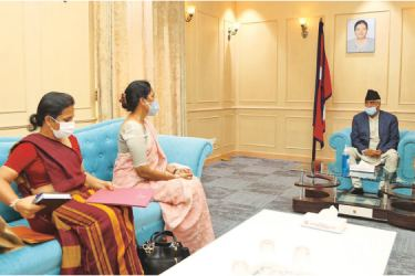 Ambassador of Sri Lanka to Nepal Himalee Arunatilaka in discussion with newly appointed Prime Minister of Nepal Sher Bahadur Deuba after handing him Prime Minister Mahinda Rajapaksa's Congratulatory Message.