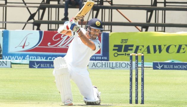 Dimuth Karunaratne scored a double century to place Sri Lanka A in a strong position against England Lions in the first 4-day unofficial test played at the Rangiri Dambulla Stadium.