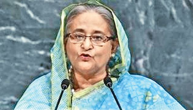 Bangladeshi Prime Minister Sheikh Hasina addressing the 72nd Session of the United Nations General Assembly in New York.