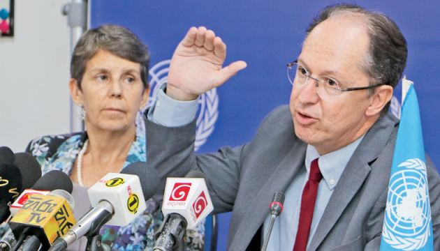 UN Special Rapporteur on the promotion of Truth, Justice, Reparation and guarantees of non-recurrence, Pablo de Greiff addressing the media at the United Nations compound in Colombo at the end of his 14-day fact-finding mission to Sri Lanka. Picture by Saman Sri Wedage