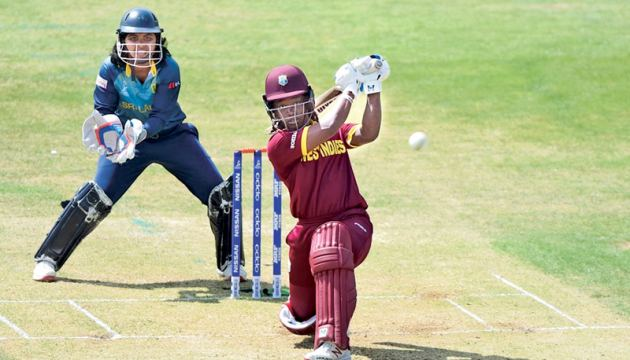 West Indies Women player Deandra Dottin who scored a century and picked up the Player of the Match and Player of the Series awards batting against Sri Lanka Women.