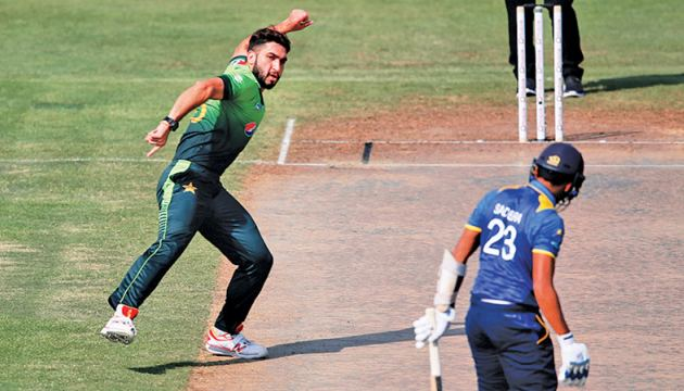 The destroyer of the Sri Lankan innings Usman Shinwari with five wickets for 34 runs exults after pegging Sadeera Samarawickrama's middle stump in the fifth and final ODI between Sri Lanka and Pakistan at Sharjah Cricket Stadium on Monday.