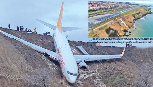Panic spread through the Boeing 737-800 as it stopped at the edge of the Black Sea on the north coast of Turkey.