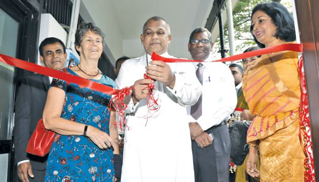 "Public Administration and Management Minister Ranjith Madduma Bandara opens the ""Sandharani"" research center in the premises of Sri Lanka Institute of Development Administration. UN Resident Coordinator and the UNDP Resident Representative in Sri Lanka, Una McCauley is also present."