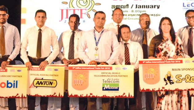 Main sponsors of the Jaffna International Trade Fair with  Lanka Exhibition and  Conference Services (Pvt) Ltd (LECS)  Chamber of Commerce and  Industries of Yarlpanam (CCIY)officials  at the press conference  Picture by-Sarath Peiris