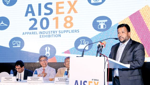 Minister Bathiudeen, Deputy Minister of National Policies and Economic Affairs Dr. Harsha De Silva, Chairman of Joint Apparel Association Forum (JAAF) Sharad Amalean and Managing Director of Lanka Exhibitions & Conference Services, Arjun Dharmadasa at the launch of AISEX 2018.